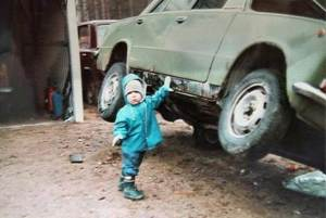 car lifted by child